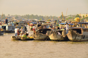 Boote im Mekong-Delta