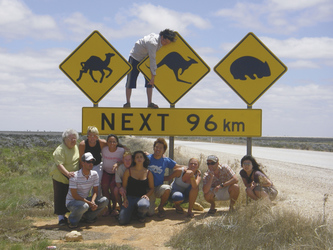 Reisegruppe am Eyre Highway