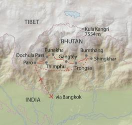 Reiseroute in Bhutan
