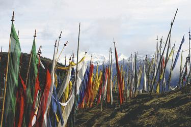 Gebetsflaggen im Gebirge, ©Local Roots