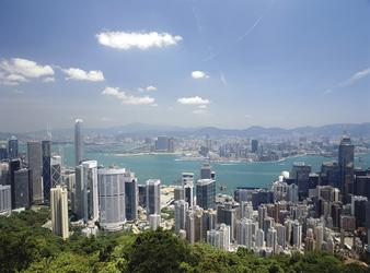 Hafenblick und Skyline vom Victoria Peak, Hongkong