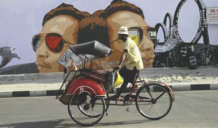 Radfahrer in Yogyakarta