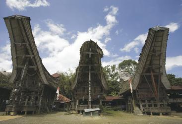 Traditionelle Häuser auf Sulawesi