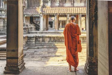 Mönch auf der Tempelanlage Angkor Wat