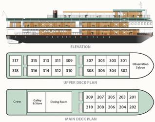 Decksplan der RV Tonle Pandaw