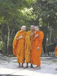 Mönche am Siem Reap-Ta Prohm Tempel