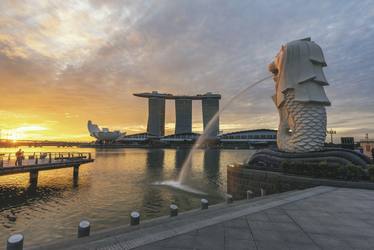 Merlion Brunnen & Marina Bay Sands