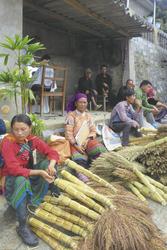 Besenverkäufer auf dem Markt von Bac Ha
