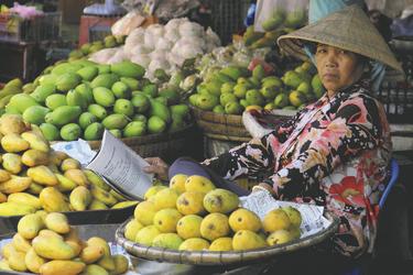 Marktfrau am Mekong