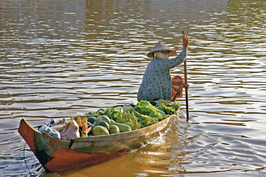 Boot mit Obst und Gemüse auf dem Mekong