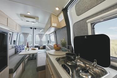 Küchenblock und Wohnkabine