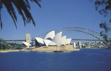Blick auf Opernhaus und Brücke in Sydney
