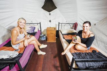 Blick in ein Zelt
