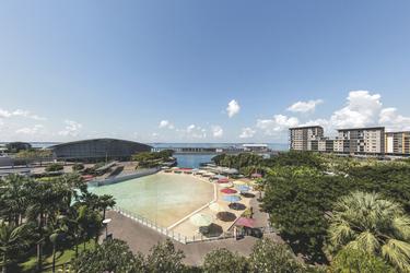 Blick über den Wasserpark