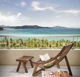 Blick vom Balkon des Reef View Hotel