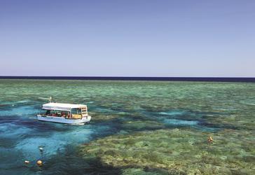 Glasbodenboot und Schnorchler