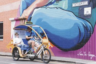 Mit der Fahrrad Rikscha unterwegs