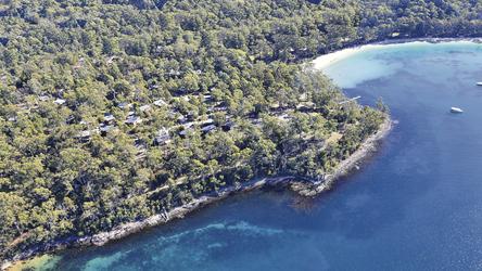 Blick auf die Stewart Bay Lodge