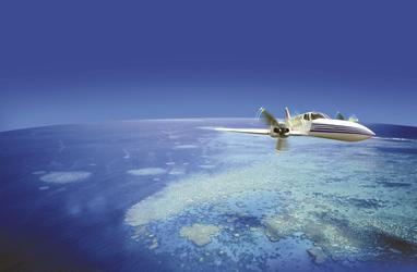 Per Kleinflugzeug über das Riff