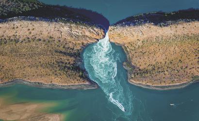 Horizontal Falls aus der Luft