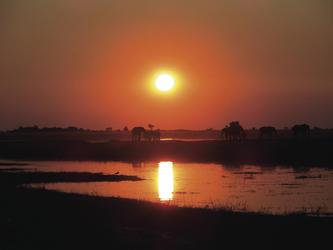 Traumhaft schöner Sonnenuntergang im Chobe Nationalpark