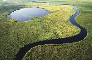 Okavangodelta aus der Luft