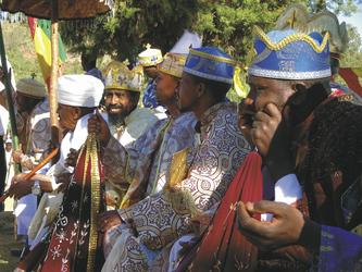 Prozession zum Timkat-Fest in Axum