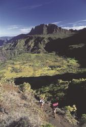 Wanderer unterwegs auf La Réunion