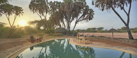 Sonnenuntergang im Saruni Rhino Camp