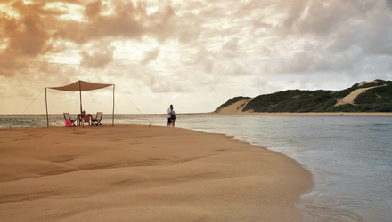 Romantik pur am einsamen Strand