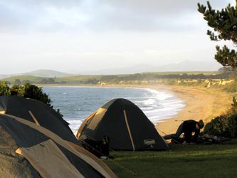 Camp mit Meerblick