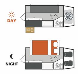 Britz 4WD Orion: Tag- und Nacht-Layout