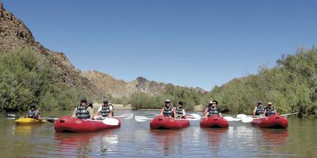 Kanu paddeln auf dem Orange River