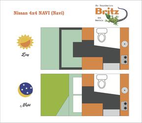 Britz 4WD Navi: Tag- und Nacht-Layout