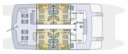 Cormorant - Deckplan Oberdeck, ©Haugan Cruises