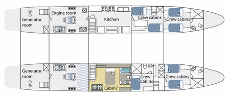 Cormorant - Deckplan Unterdeck, ©Haugan Cruises