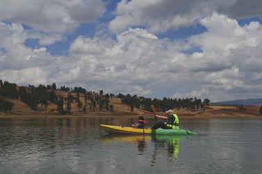 Unterwegs im Kajak auf dem Huaypo See