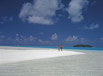 Sandinsel in der Lagune von Aitutaki