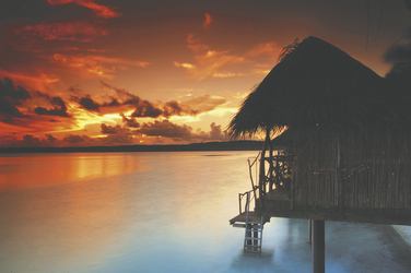 Sonnenuntergang im Aitutaki Lagoon Resort