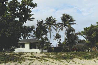 Bungalow und Strand