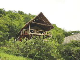 Die Gästezelte der Sangaiwe Tented Lodge