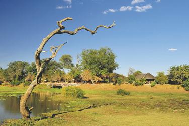 Blick auf Kafunta River Lodge